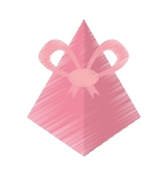 Drawing pink gift box pyramid bow vector