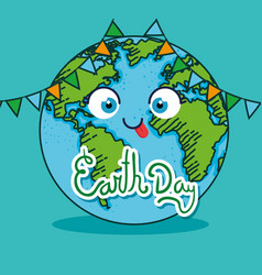 Earth day and funny planet with party banner vector