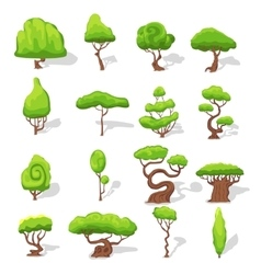 Fantasy Green Trees Set vector image