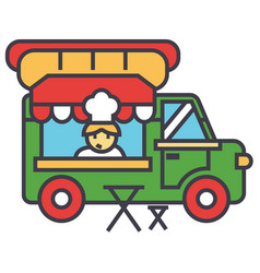 Fast food truck street food mobile kitchen vector