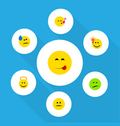 flat icon emoji set of have an good opinion tears vector image