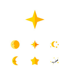 Flat icon night set of star bedtime lunar and vector