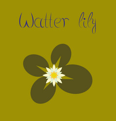 Flat on background water lily vector