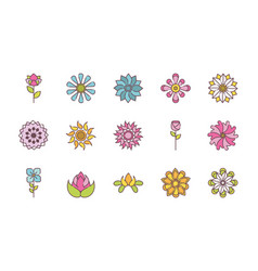flower nature decoration icons set flat style vector image