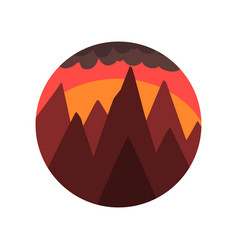 geometric round-shaped emblem of landscape with vector image