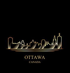 gold silhouette ottawa on black background vector image