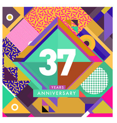 Greeting card anniversary with colorful number vector