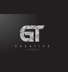 Gt g t letter logo with zebra lines texture vector
