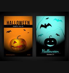 Halloween poster template with bat and pumpkin vector