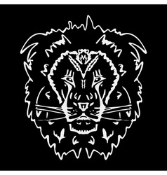 Hand-drawn pencil graphics lion Stencil style vector