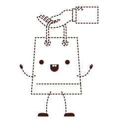 Hand holding a trapezoid kawaii animated shopping vector