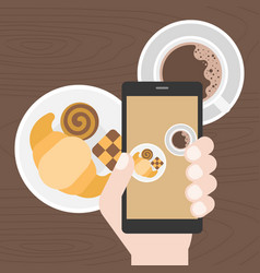 hand holding smart phone take photo of coffee vector image