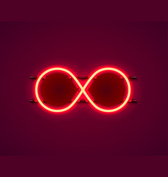 infinity neon symbol on red background vector image