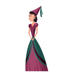 isolated medieval princess character with royal vector image