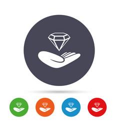 Jewelry insurance sign hand holds diamond vector
