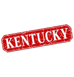 Kentucky red square grunge retro style sign vector