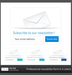 Light Subscribe to newsletter form with white vector image