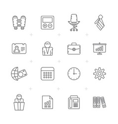 Line business office and finance icons vector