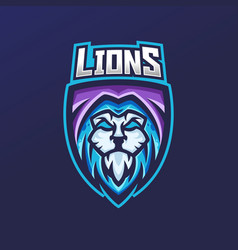 Lion esport gaming mascot logo template vector
