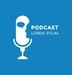 Logo or icon podcast with talking on blue vector