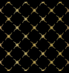 Luxe gold black ornamental lattice pattern vector