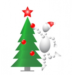Man decorate Christmas fur tree vector