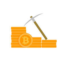 mining golden bitcoin vector image
