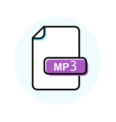 mp3 file format extension color line icon vector image