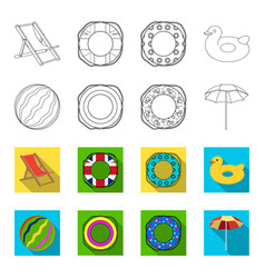 Multicolored swimming circle outlineflat icons in vector