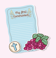 My first communion card with host wafer and grapes vector