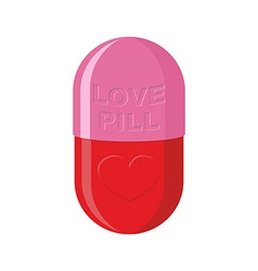 Pill love heart symbol Pink Tablet for love vector image