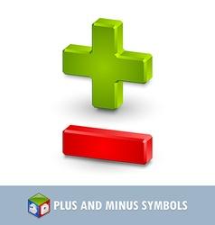 Plus and minus symbols vector
