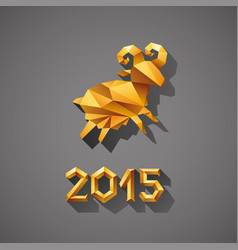 polygonal golden ram sheep symbol of year vector image