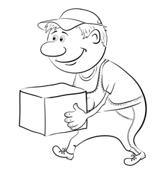 Porter carries a box outline vector