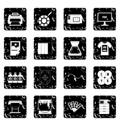 Printing set icons grunge style vector