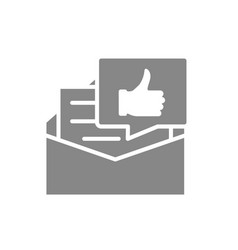 Recommendation letter gray icon letter with thumb vector