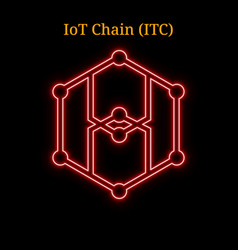 Red neon iot chain itc cryptocurrency symbol vector