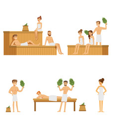 sauna and steam house loving people enjoying hot vector image