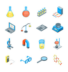 science tools and elements 3d icons set isometric vector image