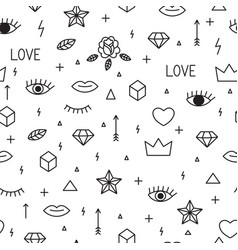 Seamless pattern with hand drawn geometric vector