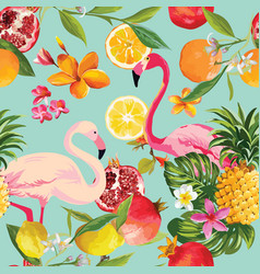 Seamless tropical fruits and flamingo pattern vector