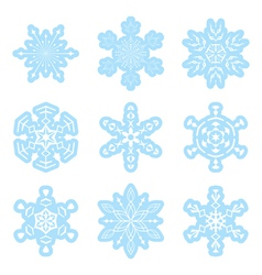set - blue and white snowflakes vector image