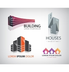 Set building houses city town logos vector