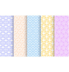 set different pale seamless patterns vector image
