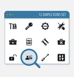 Set of 12 editable repair icons includes symbols vector