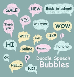 Set of doodle speech bubbles on a green background vector image