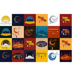 Set of happy ramadan kareem greeting cards muslim vector