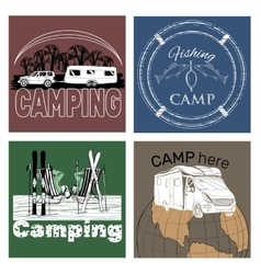 set of retro vintage camp labels and logo vector image