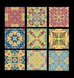 Set vintage ceramic tiles in azulejo design vector