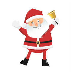 smiling santa claus with bell vector image